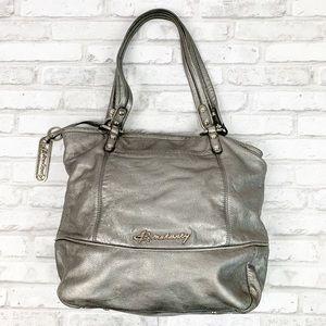 B. Makowsky Metallic Silver Leather Tote Bag